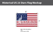 Historical US 25 Stars Flags 4x6 foot