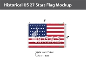 Historical US 27 Stars Flags 4x6 foot
