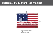 Historical US 33 Stars Flags 4x6 foot