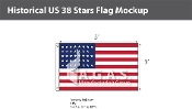 Historical US 38 Stars Flags 3x5 foot