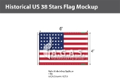 Historical US 38 Stars Flags 4x6 foot