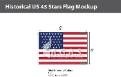Historical US 43 Stars Flags 4x6 foot