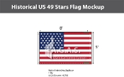 Historical US 49 Stars Flags 5x8 foot