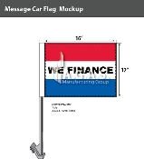 We Finance Premium Car Flags 10.5x15 inch (Red, White & Blue)