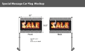 Checkered Sale Premium Car Flags 10.5x15 inch (Bk, Y & R)