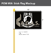 POW MIA Stick Flags 8x12 inch (black & white)