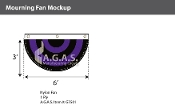Mourning Pleated Full Fans 3x6 foot (black & purple)