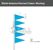 Fluorescent Blue Antenna Pennant Towers 32 inch