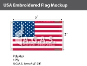 USA Embroidered Flags 3x5 foot (Made in the USA)