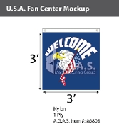 USA Fan Centers Only 3x3 foot with Welcome Eagle Head