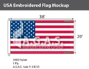 USA Embroidered Flags 20x38 foot (Made in the USA)