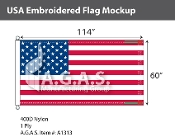 USA Embroidered Flags 60x114 inch (Official Size)