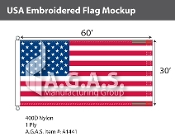 USA Embroidered Flags 30x60 foot