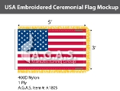 USA Embroidered Ceremonial Flags 3x5 foot