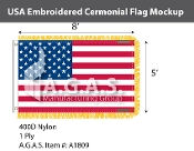 USA Embroidered Ceremonial Flags 5x8 foot