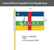 Central African Republic Stick Flags 12x18 inch