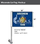 Wisconsin Car Flags 12x16 inch