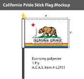"California Pride Stick Flag 4""X6"""